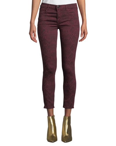 835 Mid-Rise Cropped Snake-Print Skinny Jeans