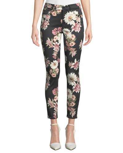 Floral-Printed Ankle Skinny Jeans