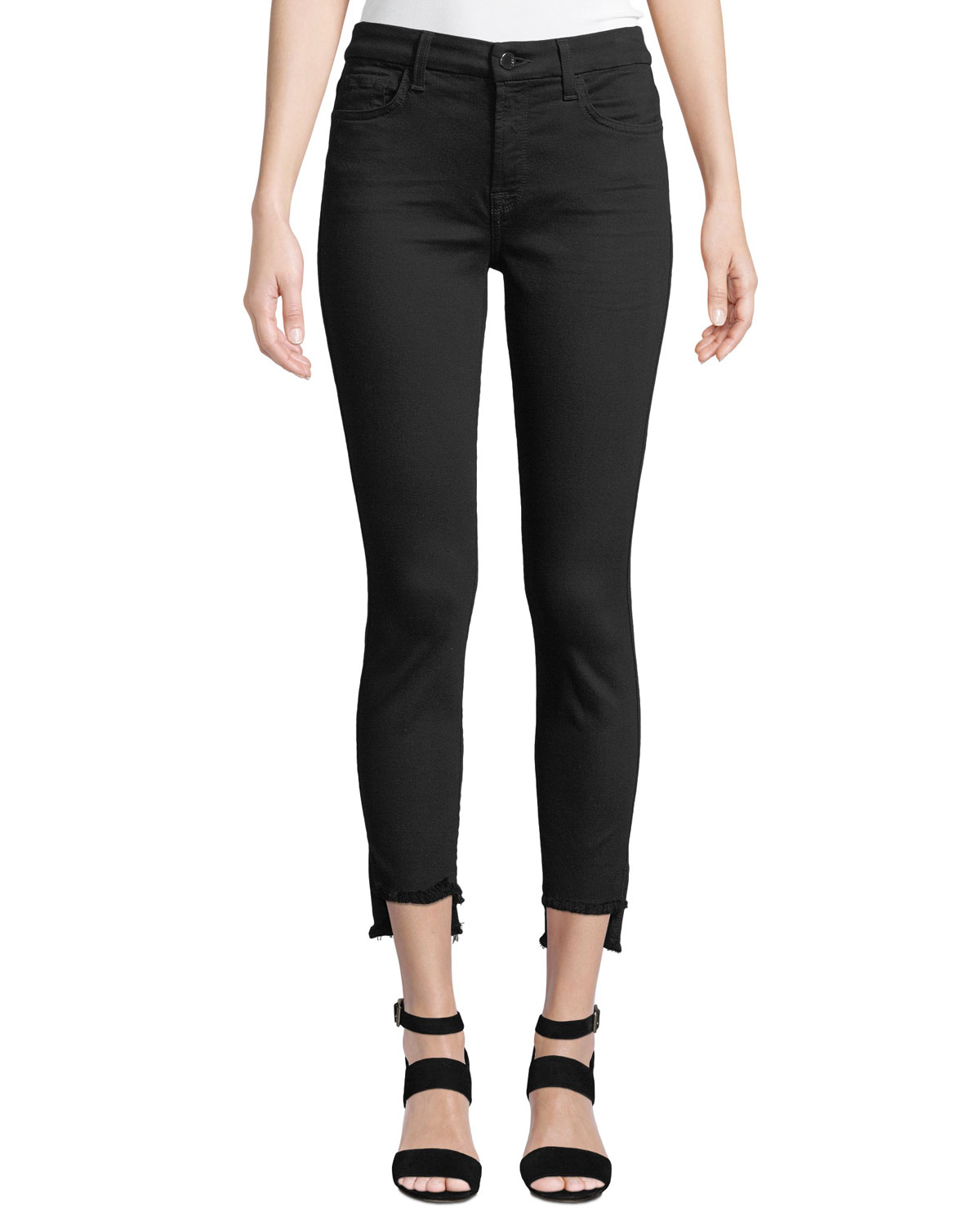 JEN7 Stretch Step Hem Ankle Skinny Jeans in Black