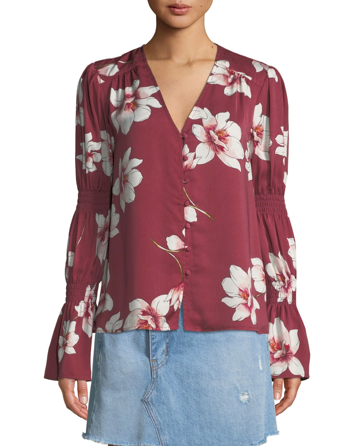 Christa Floral-Print Button-Down Top