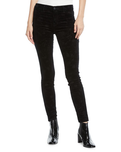 815 Mid-Rise Velvet Skinny Jeans with Floral Embossing