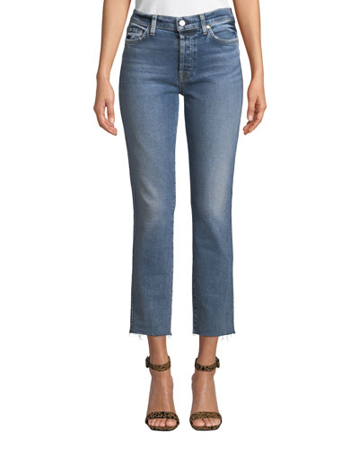 Edie Cropped Raw-Edge High-Rise Jeans
