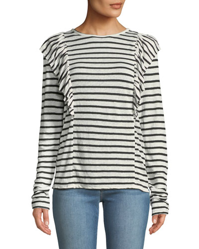 Crewneck Striped Linen Top w/ Ruffled Trim