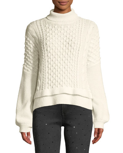 Nubby Turtleneck Wool-Blend Knit Sweater