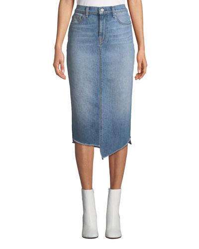 Spliced Denim Pencil Skirt