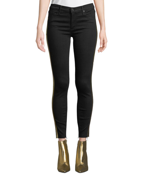 Black Orchid Noah Ankle Fray Skinny Jeans w/ Gold Racer Stripes