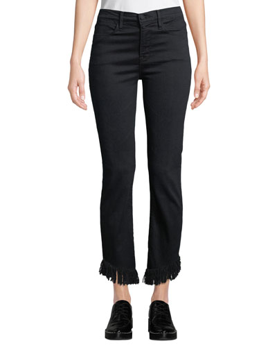 Le High Straight-Leg Jeans with Shredded Hem