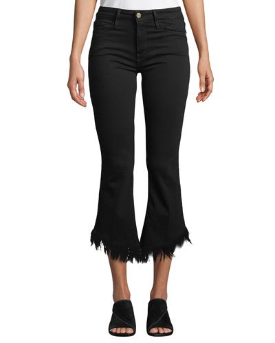 Le Crop Mini Boot-Cut Jeans with Shredded Hem