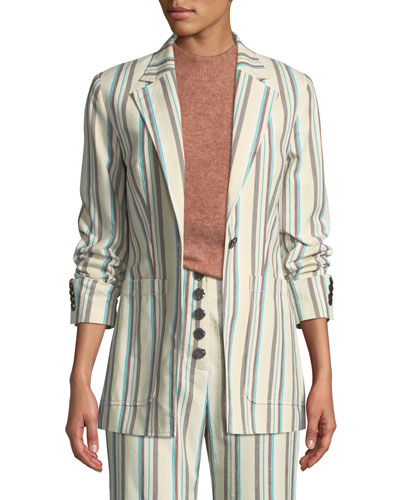 Oversized Striped Cotton Blazer