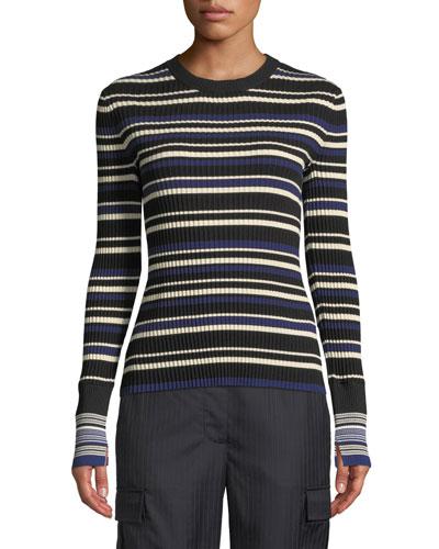 Multi Striped Silk/Cotton Pullover Sweater