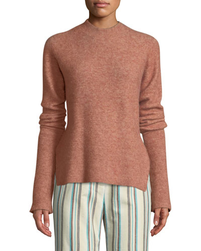 Long-Sleeve Lofty Rib Alpaca-Blend Pullover Sweater