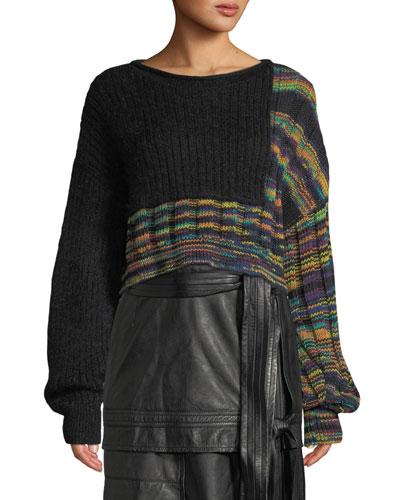 Space Dye Cropped Pullover Sweater