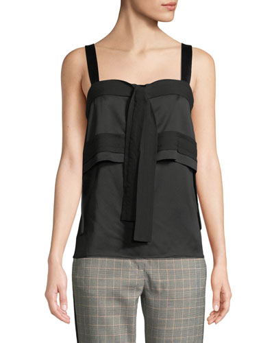 Square-Neck Tie-Front Tiered Crepe Tank
