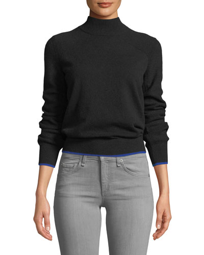 Yorke Turtleneck Mesh-Stitch Sleeves Cashmere Sweater