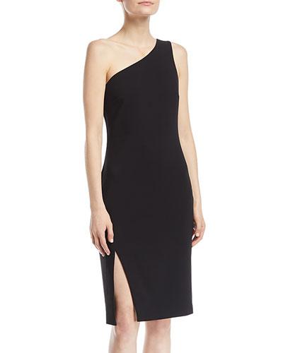 Helena One-Shoulder Side-Slit Straight Crepe Dress