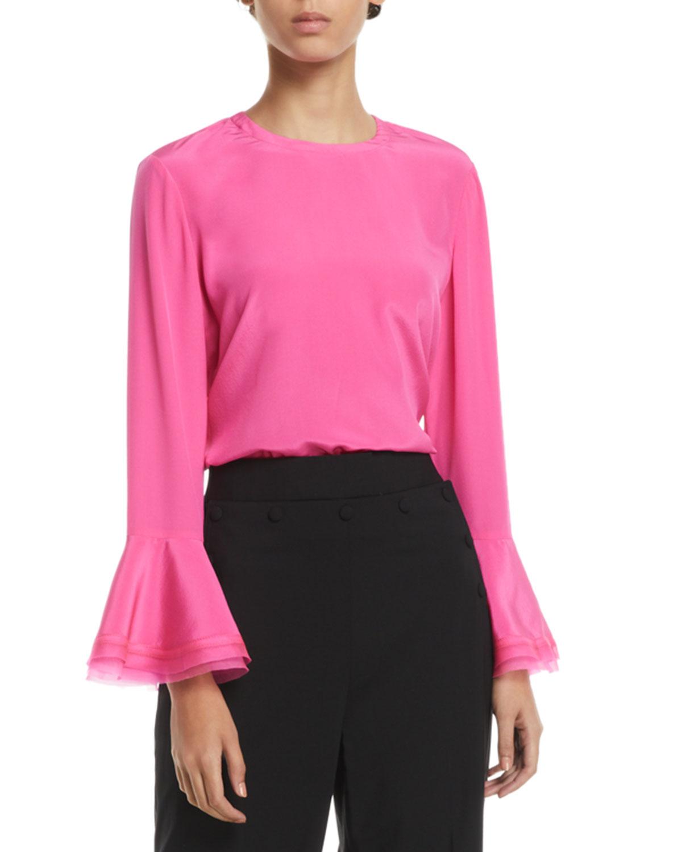 Gabby Ruffle-Sleeve Silk Blouse
