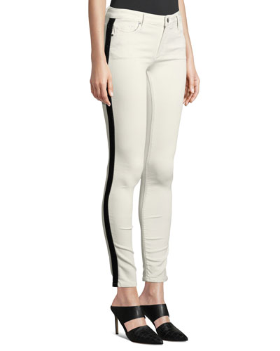 Jude Mid-Rise Skinny Jeans w/ Tuxedo Stripes