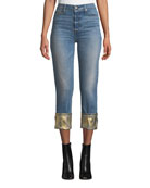 Black Orchid Taylor High-Rise Straight-Leg Jeans w/ Foiled