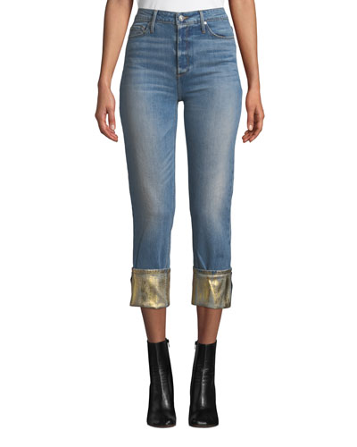 Taylor High-Rise Straight-Leg Jeans w/ Foiled Hem