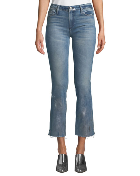 Black Orchid Bardot Mid-Rise Frayed Jeans w/ Foil Details
