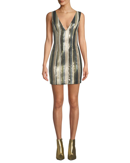 Misha Lillian Petite Sequin Stripe Mini Dress