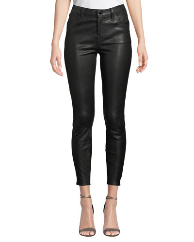 Alana High-Rise Crop Leather Skinny Pants