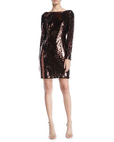 Long-Sleeve Sequin Bow-Back Mini Dress