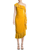 Mestiza New York Flamenco 1-Shoulder Velvet Ruffle Dress