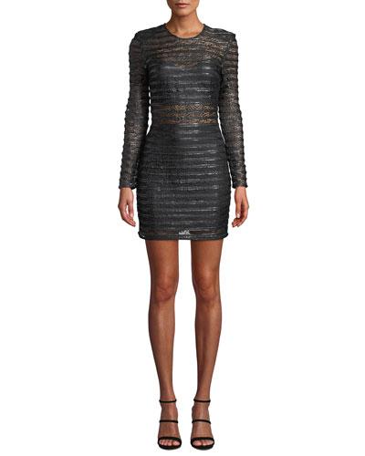 Cyanite Long-Sleeve Sheer Striped Mini Dress