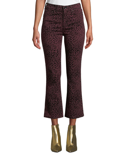 Hana High-Rise Cropped Cheetah-Print Jeans