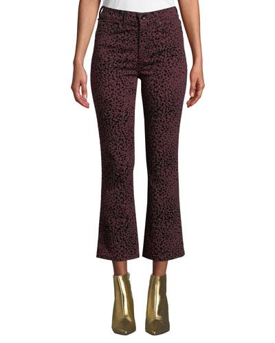 Hana High-Rise Cropped Cheetah-Print Jeans