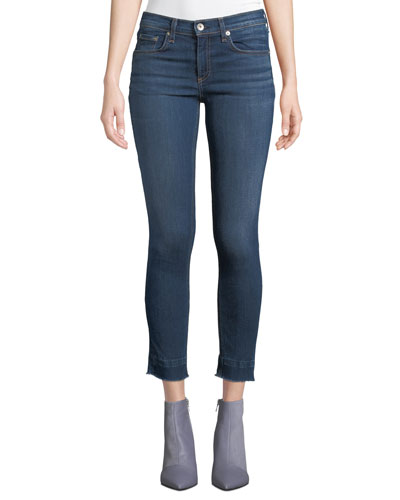 Cropped Ankle Skinny Jeans with Released Hem