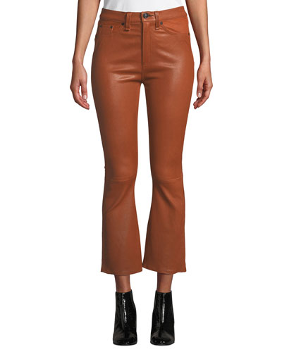 Hana High-Rise Cropped Flare-Leg Leather Pants