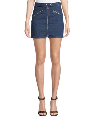 Racer Zip-Front Denim Mini Skirt