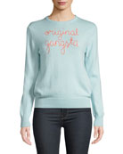Lingua Franca Original Gangsta Embroidered Cashmere Sweater