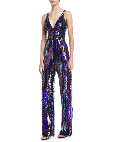 f94ab80eadde Quick Look. Dress The Population · Charlie Brushstroke Sequin Sleeveless  Jumpsuit