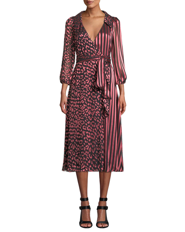 Abigail Metallic Leopard & Stripe Stretch Silk Wrap Dress, Animal Print