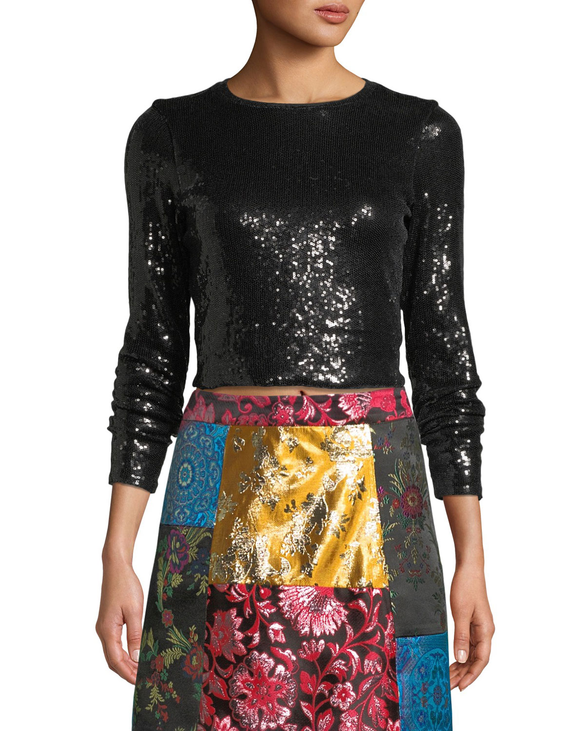 Delaina Long-Sleeve Sequined Top