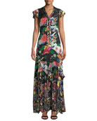 Alice + Olivia Laurette Ruffle Godet Maxi Dress