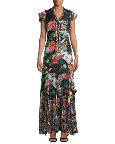 Laurette Ruffle Godet Maxi Dress