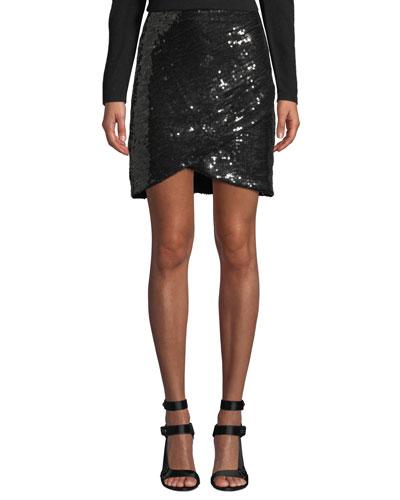 Fidela Embellished Draped Mini Skirt