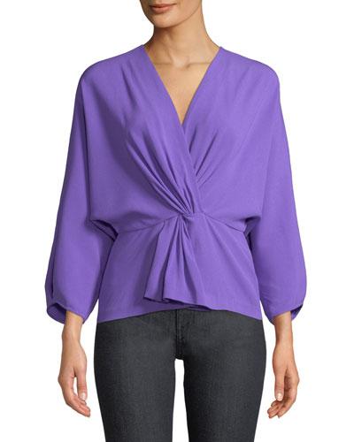 372afb0f9830ca Quick Look. Diane von Furstenberg · Crepe Twist-Front Long-Sleeve Wrap Top