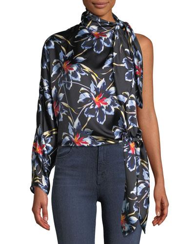 f72e0edd8b8e18 Quick Look. Diane von Furstenberg · One-Shoulder Silk Floral Knotted Blouse