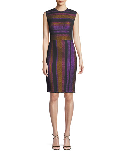 Metallic-Stripe Sleeveless Sheath Dress