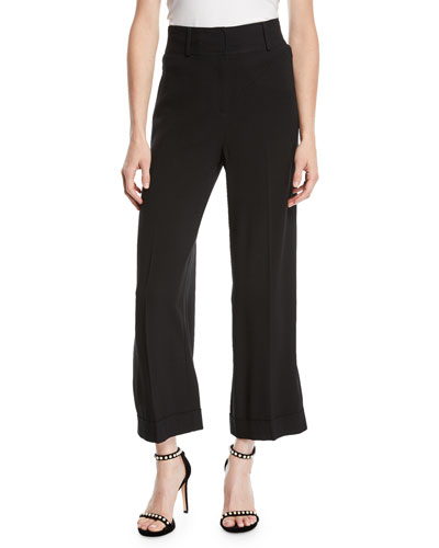 75aa62b221e2d Quick Look. Diane von Furstenberg · High-Waist Crepe Cuffed Culotte Pants.  Available in Black
