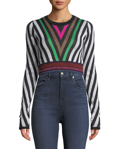 Chevron-Stripe Long-Sleeve Cropped Sweater