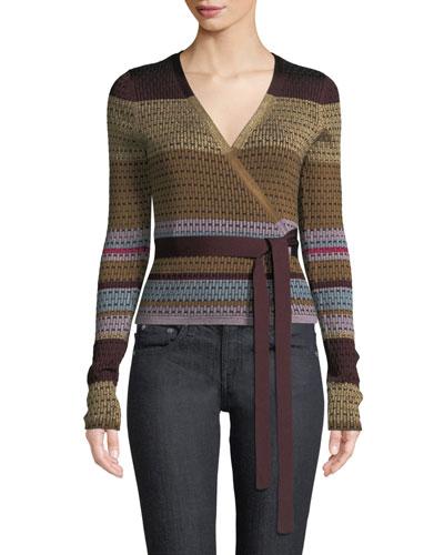 Metallic Striped Wrap Sweater