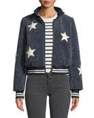 Belle Fare Sheepskin Star Baseball Jacket