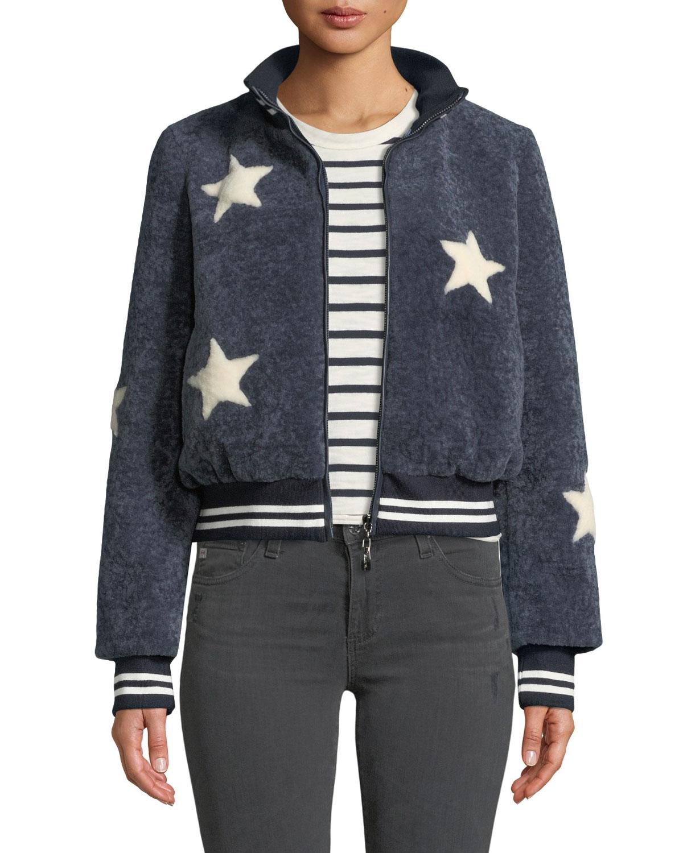 BELLE FARE Sheepskin Star Baseball Jacket in Blue