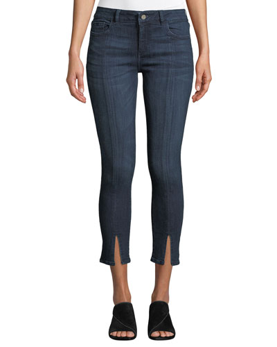Florence Cropped Mid-Rise Skinny Jeans with Split Hem